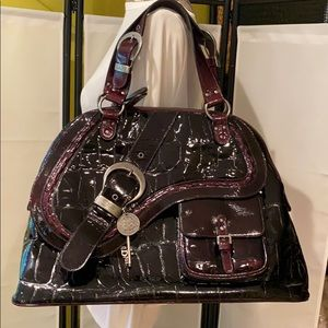 Dior Large Patent Wine Leather Gaucho Domed Bag
